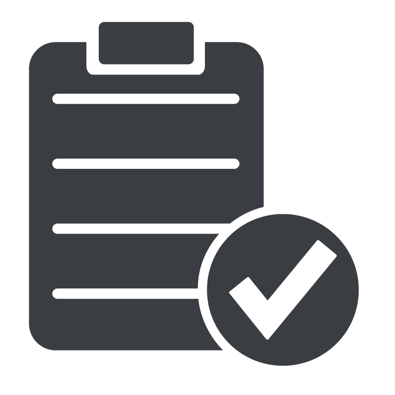 An icon of a clipboard and a check mark