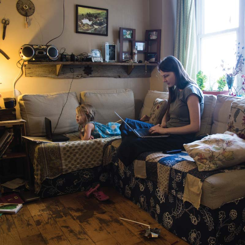 A mother and daughter in an apartment